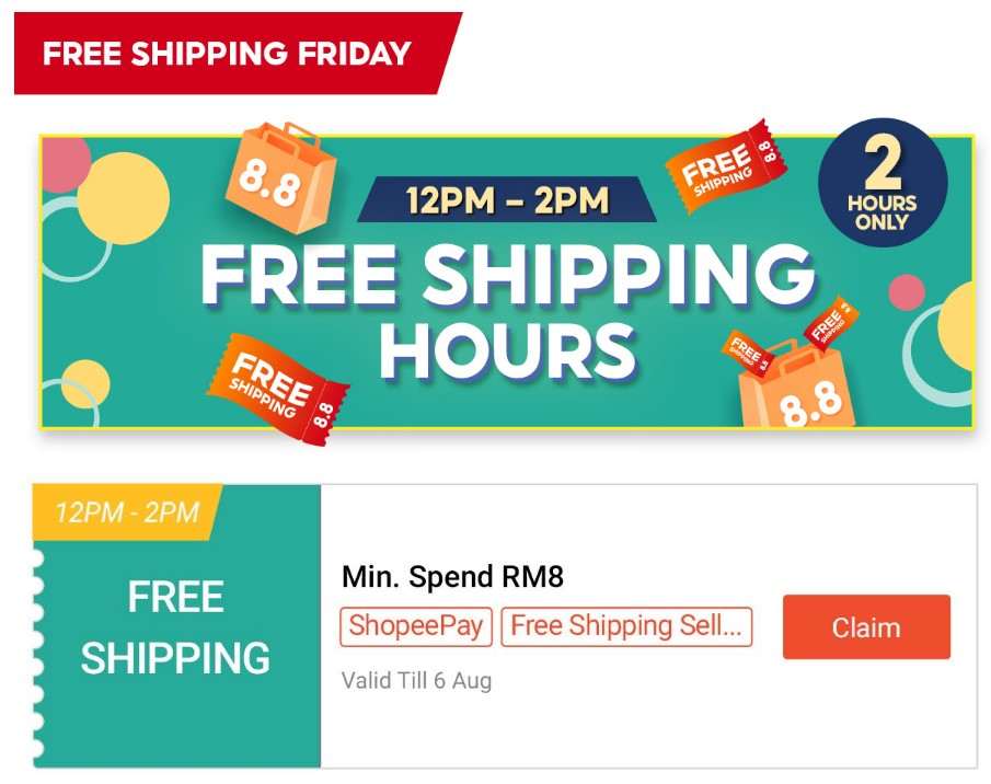 Aug shopee free shipping voucher